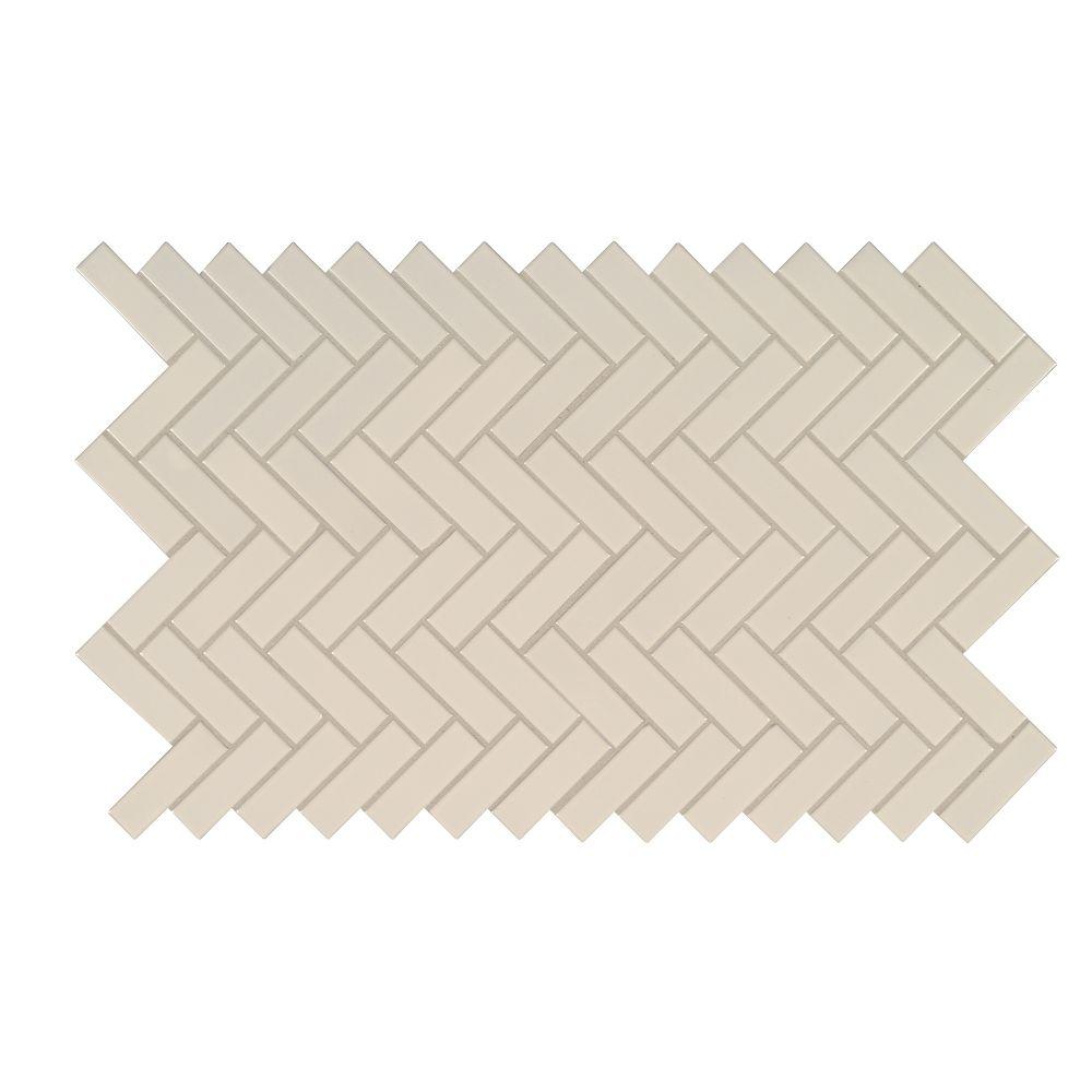 Almond Glossy Herringbone Mosaic