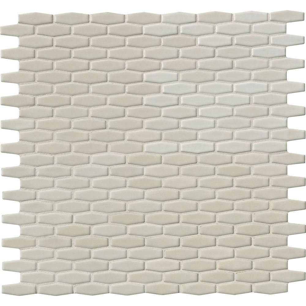 Antique White 12X12 Glossy Elongated Hexagon Mosaic