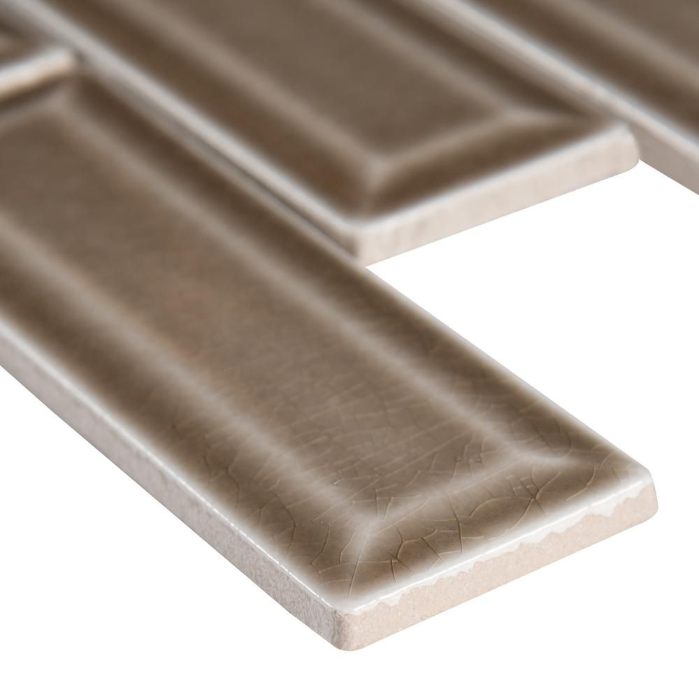 Artisan Taupe Glossy 2x6 Bevel Ceramic Subway Tile