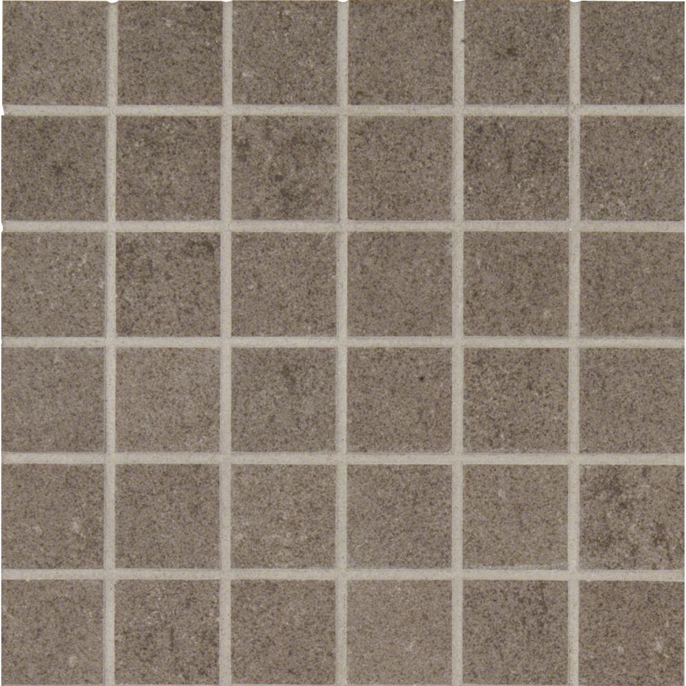 Beton Concrete 12X12 Porcelain Mesh-Mounted Mosaic Tile