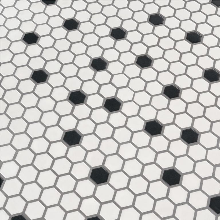 Black And White 1X1 Hexagon Matte Porcelain Tile