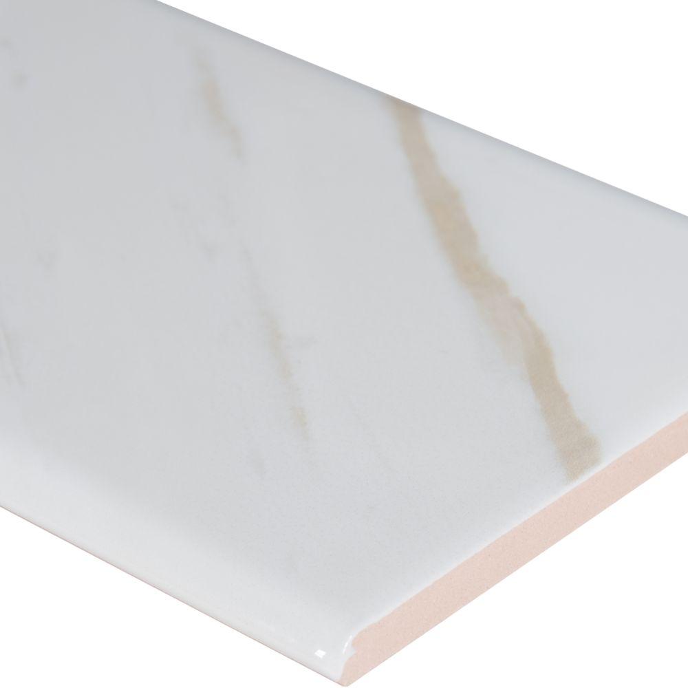 Classique White Calacatta 4X16 Glossy Bull Nose