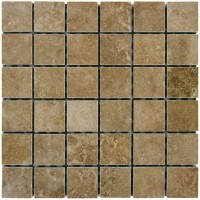 Travertino Walnut 2X2 Matte Porcelain Mosaic
