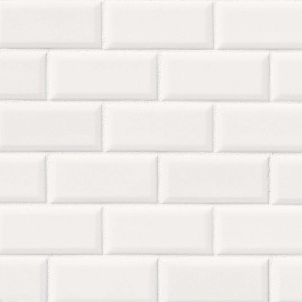Bright White Glossy 2x4 Bevel Ceramic Subway Tile