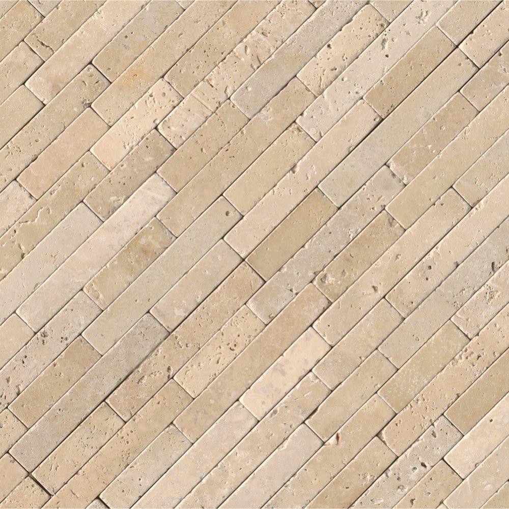 Chiaro Travertine 8x18 Tumbled Stone Veneer