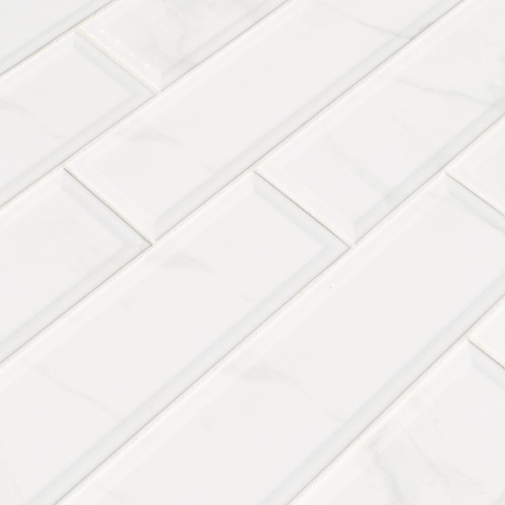 Classique White Carara 4X16 Glossy Beveled