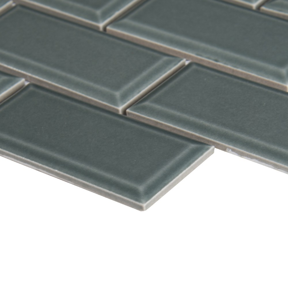 Donna Teal 2x4 Bevel Glossy Subway Ceramic Tile
