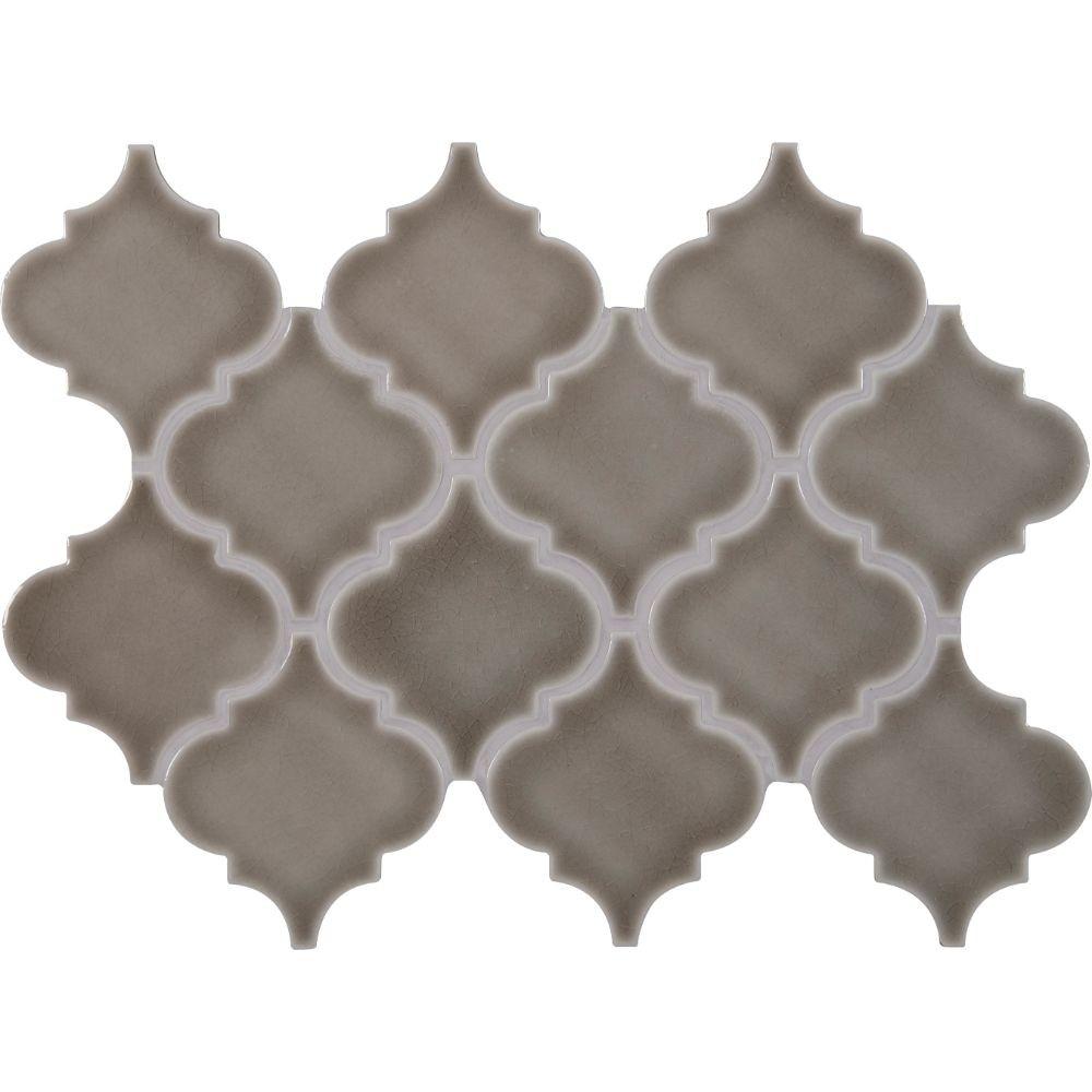 Highland Park Arabesque 10.83X15.5 Ceramic Mosaic Tile in Gray