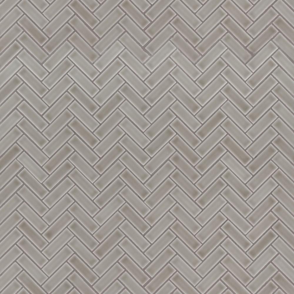 Dove Gray Glossy 1X3 Herringbone Pattern Mosaic