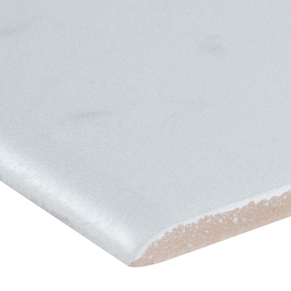 Essentials White Vena Bullnose 3X18 Matte Ceramic Tile