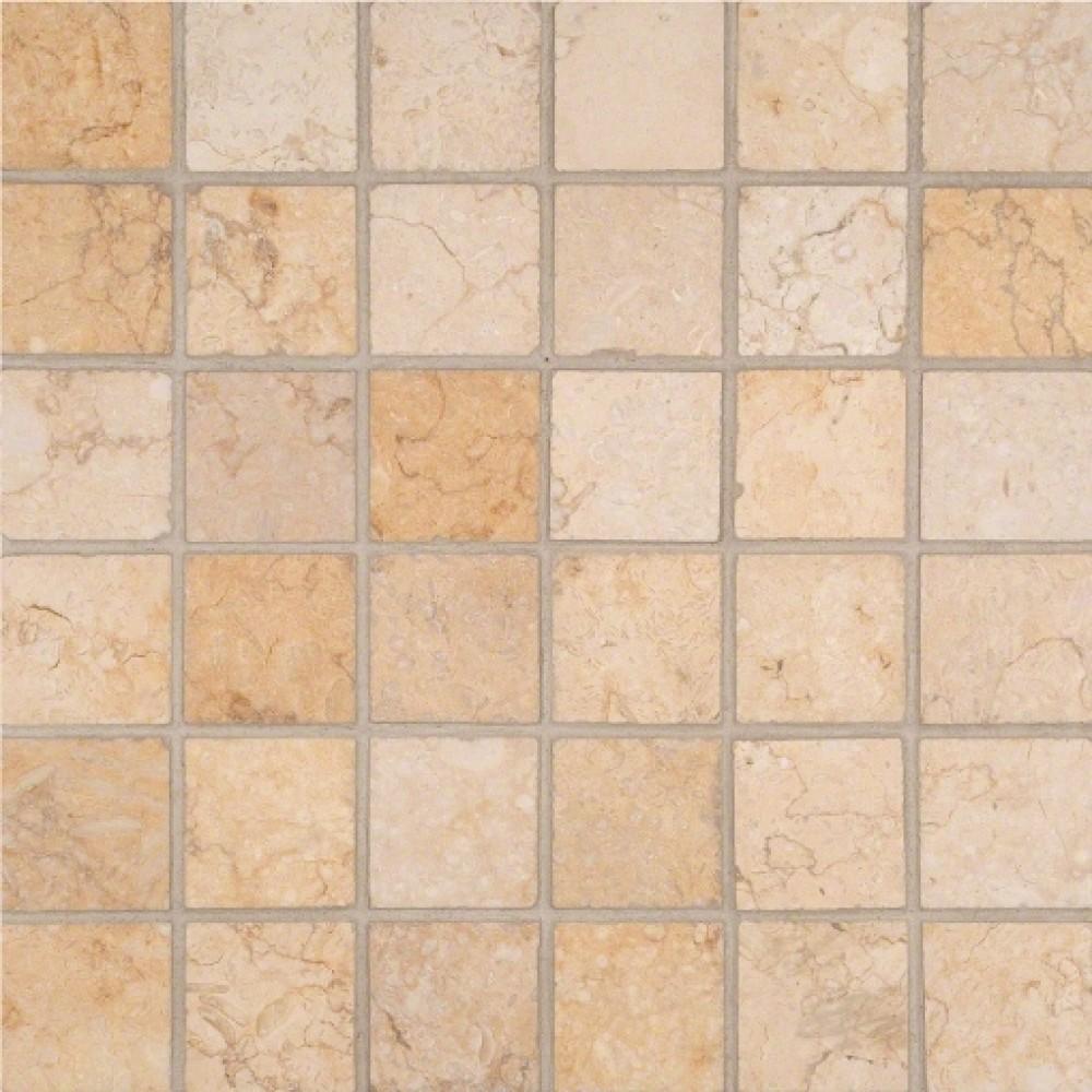 Luxor Gold 2x2 Honed in 12x12 Mesh Mosaic