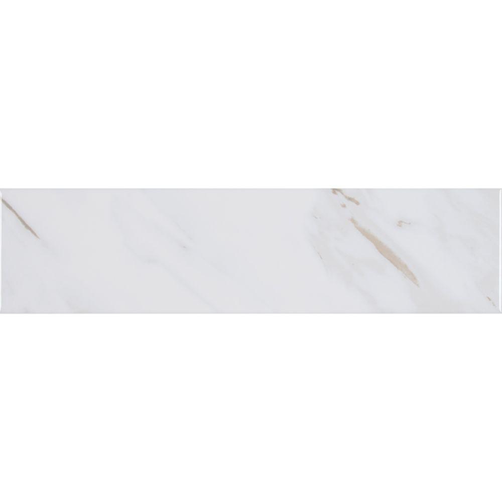 Ola White 4X16 Glossy Ceramic Wall Tile