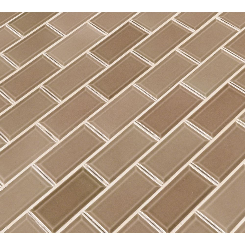 Taupe 2x4 Glossy bevel Ceramic Subway Tile