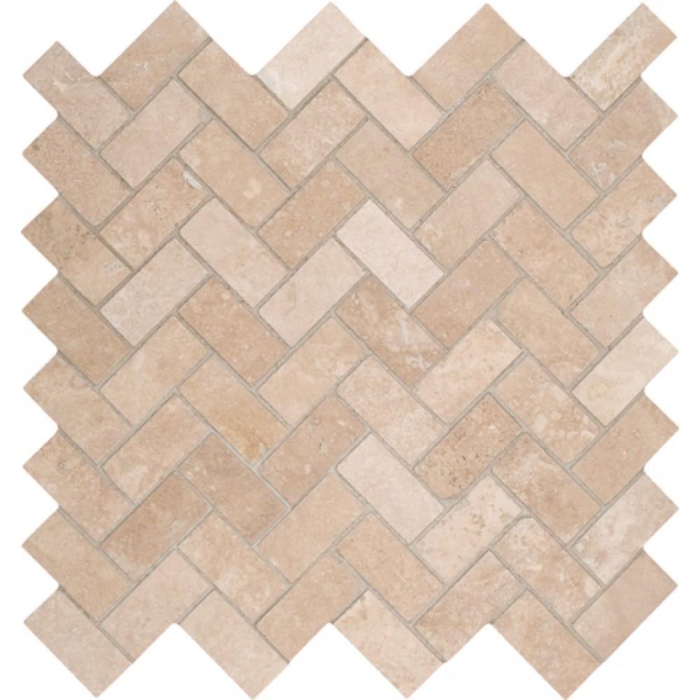 Tuscany Ivory 12X12 Honed Herringbone Travertine Mosaic