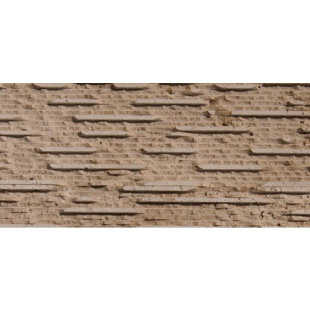 Walnut Travertine 6X24 Grooved Stone Veneer