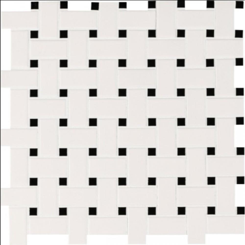 Domino White And Black Basketwave Matte Mosaic