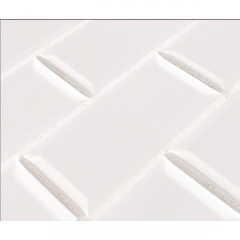 White Glossy 2X4 Staggered Beveled Subway Tile