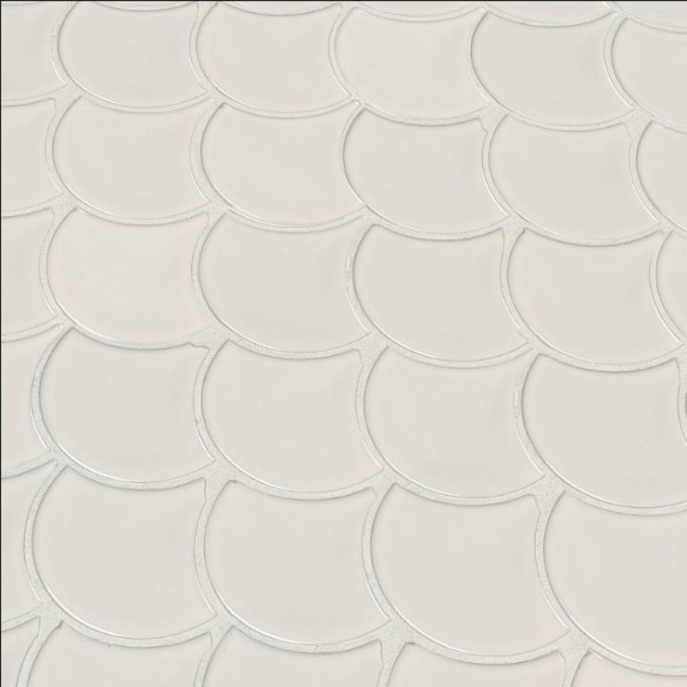 Domino White Glossy Fish Scale Mosaic