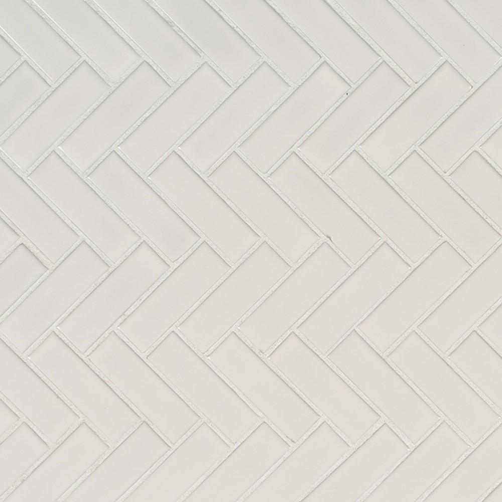 White Hudson Glossy Herringbone Pattern Mosaic