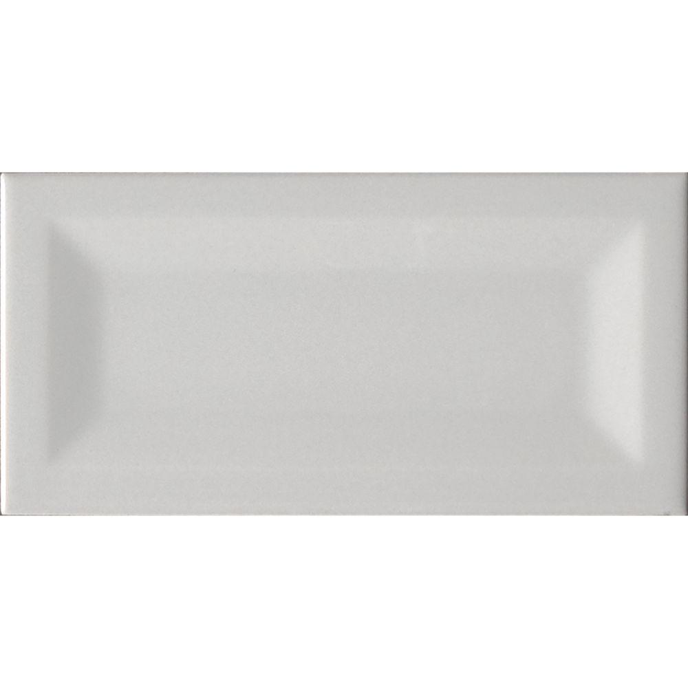 Domino Gray 3X6 Inverted Beveled Glossy Subway Tile