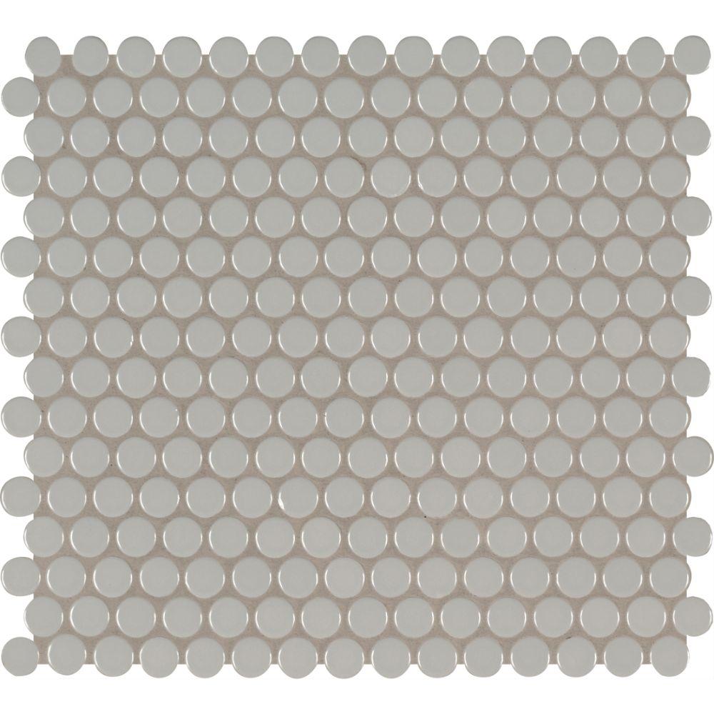 Domino Gray Glossy Penny Round Mosaic