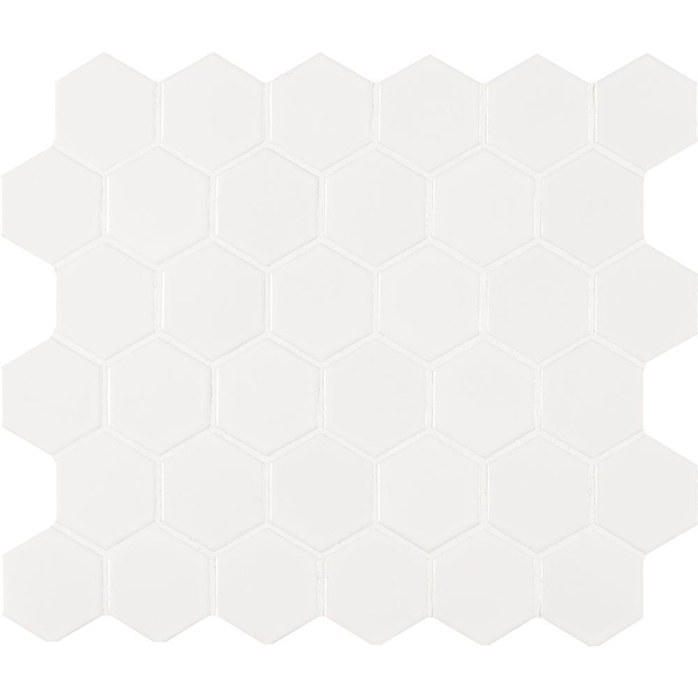 Domino White Glossy 2X2 Hexagon Mosaic