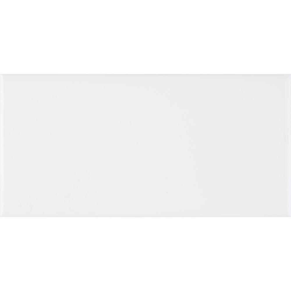 Domino White Glossy 3X6 Single BullNose