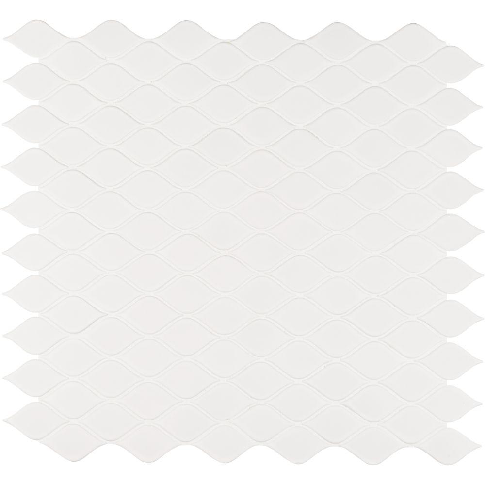 Domino White Tear Drop Glossy Mosaic