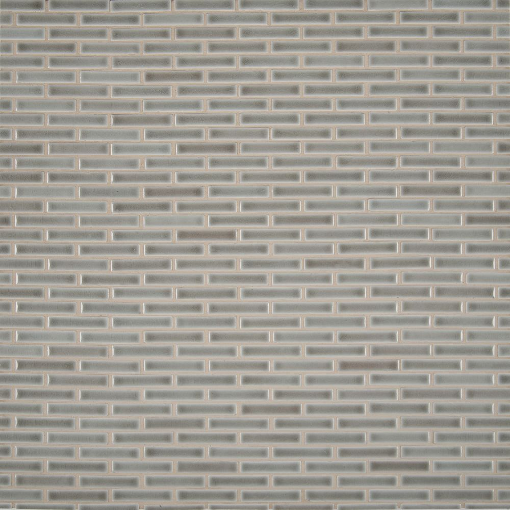 Dove Gray Brick Pattern Crackle Finish Mosaic