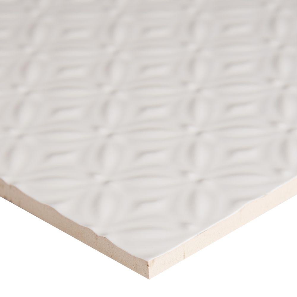 Dymo Pattern White 12X24 Glossy Ceramic Tile