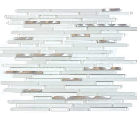 White Shadow Glass Mix 12x12 Random Thin Strip Mosaic