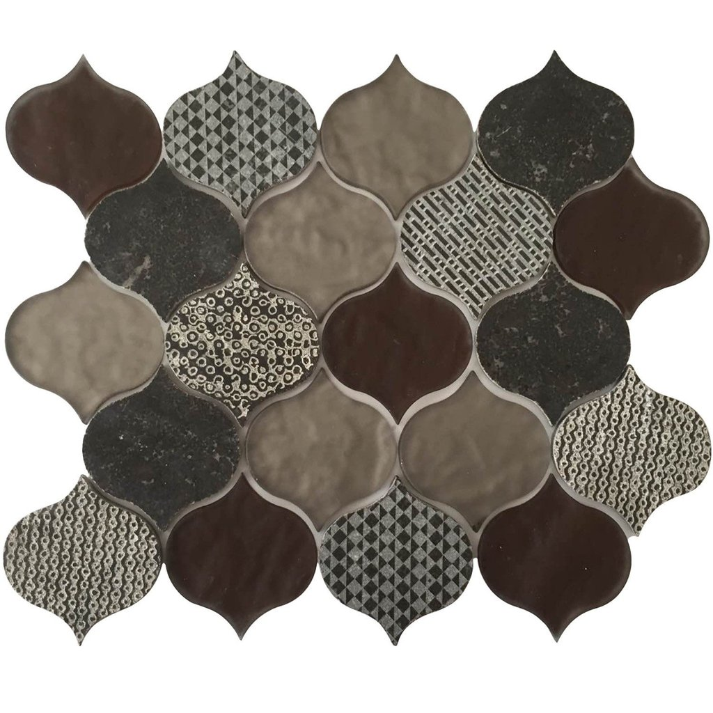 Panache Rain Drop Pattern Velvet Glass Mosaic