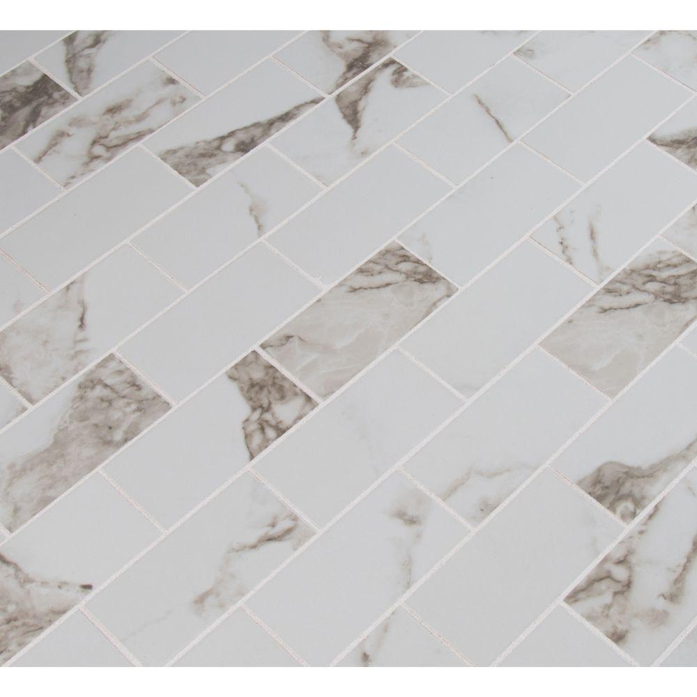 Pietra Statuario 2x4 Polished Mosaic Porcelain Tile Usa