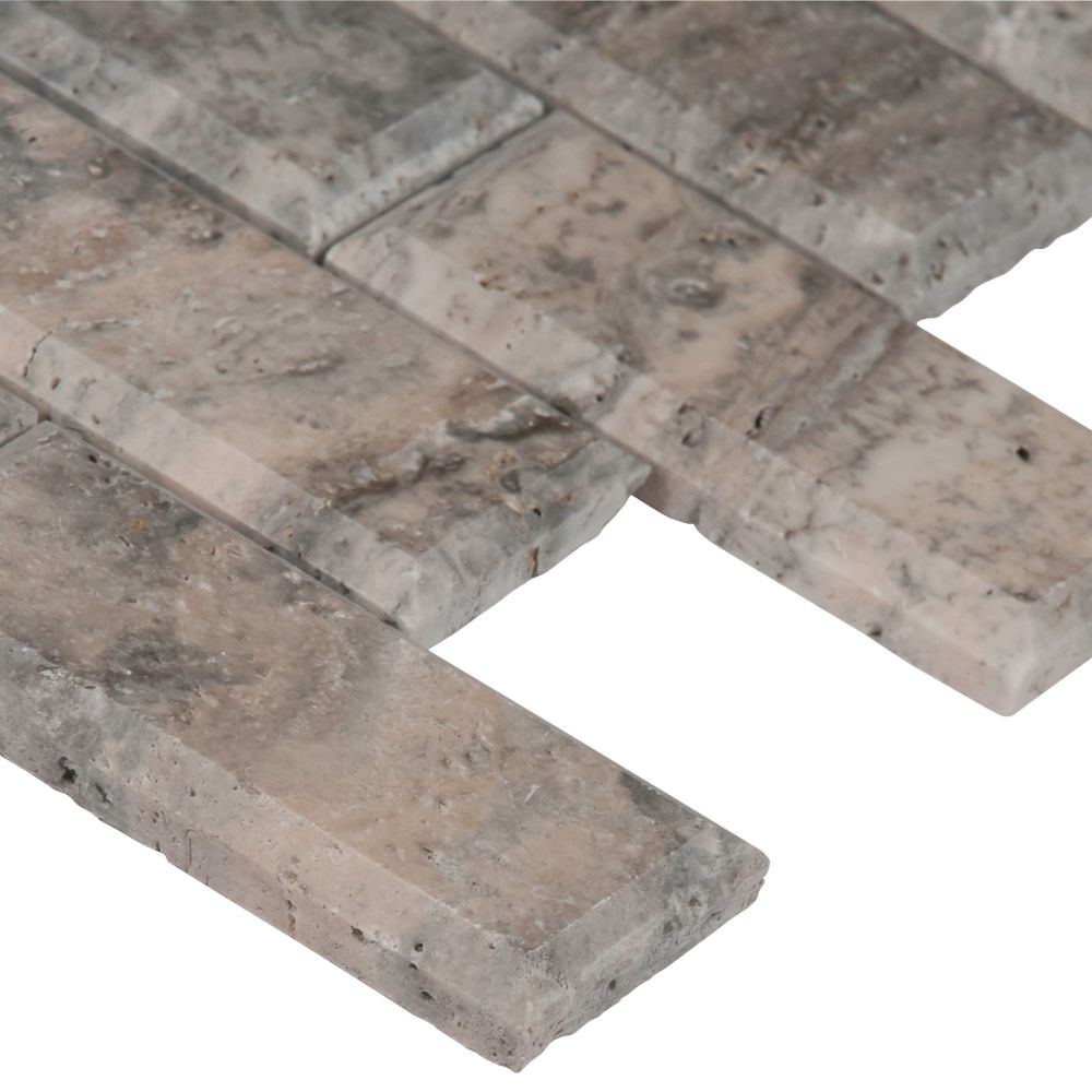Silver Travertine 2x4 Honed and Beveled Mosaic