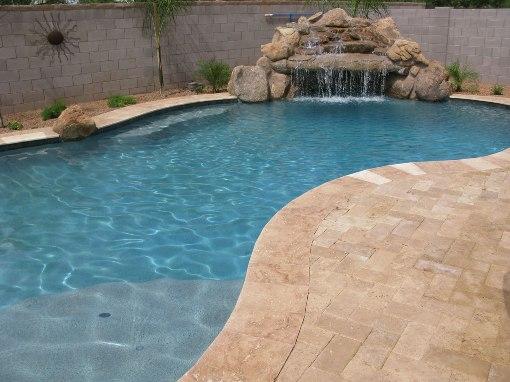 Tuscany Beige 4X12 Brushed One Short Side Bullnose Pool Coping