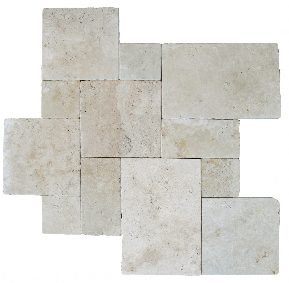 Tuscany Beige 8X8 Honed Unfilled Tumbled Paver