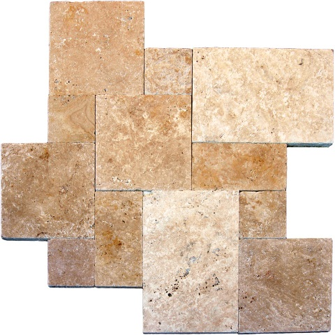 Tuscany Beige Tumbled Travertine16 Sqft French Pattern
