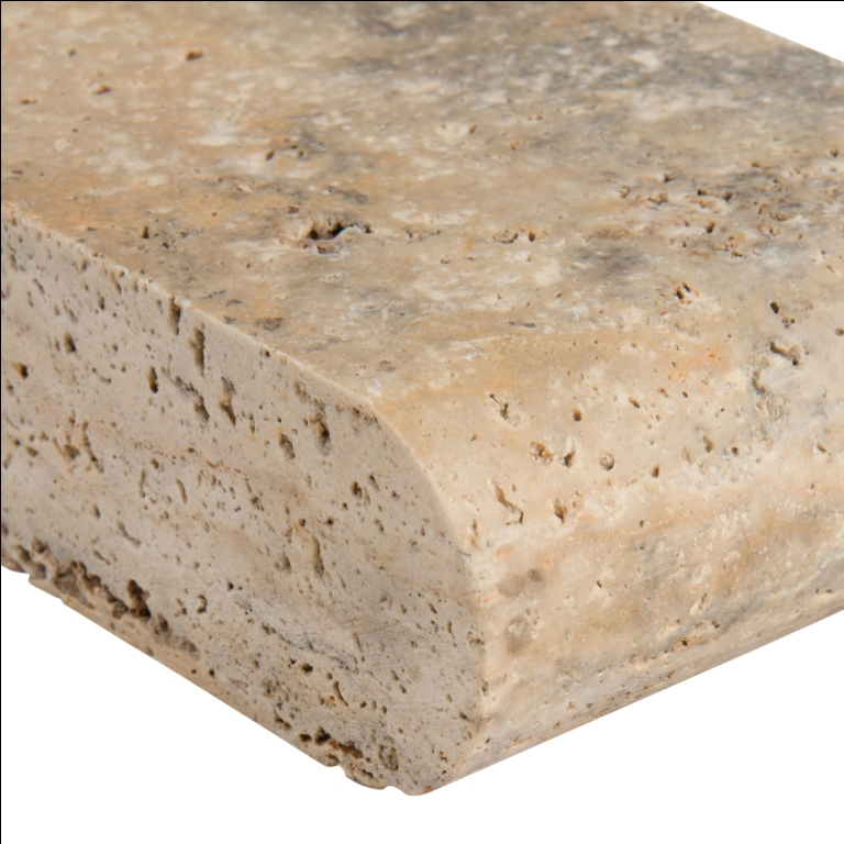 Tuscany Porcini 4X12 Honed Unfilled Brushed One Short Side Bullnose Pool Coping