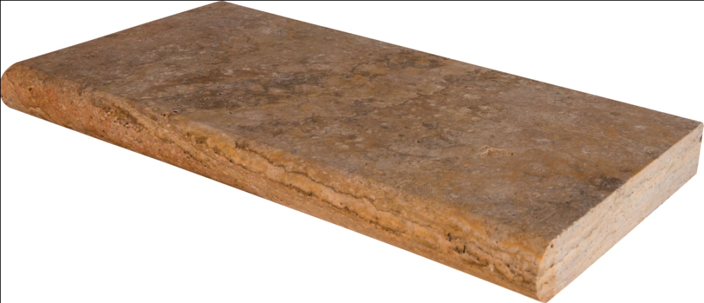 Tuscany Scabas 12X24 Honed Unfilled Brushed Bullnose Coping