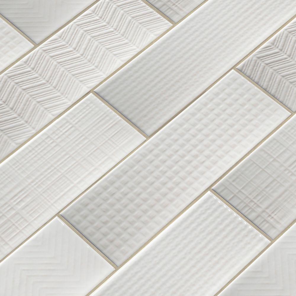 Urbano Pure 3D Mix 4x12 Glossy Ceramic Subway Tile