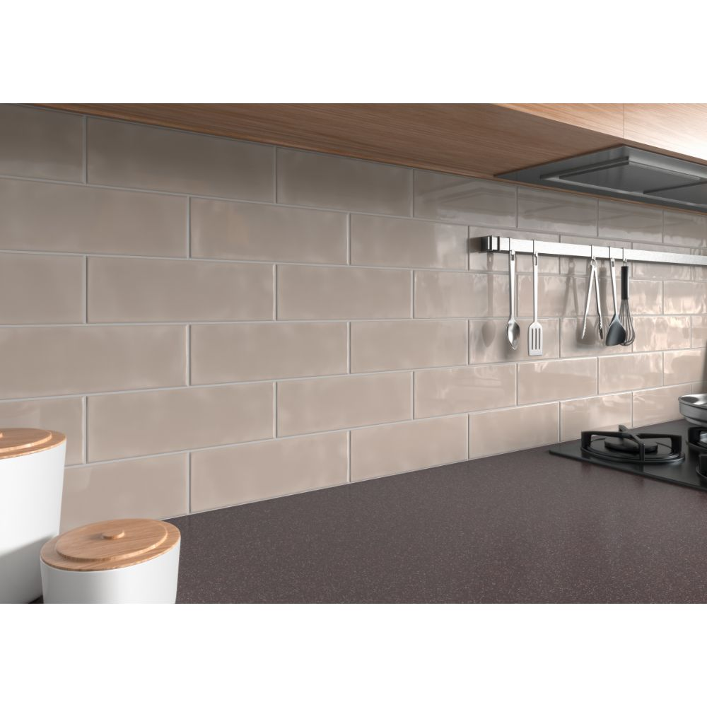 Urbano Warm Concrete 4x12 Glossy Ceramic Subway Tile