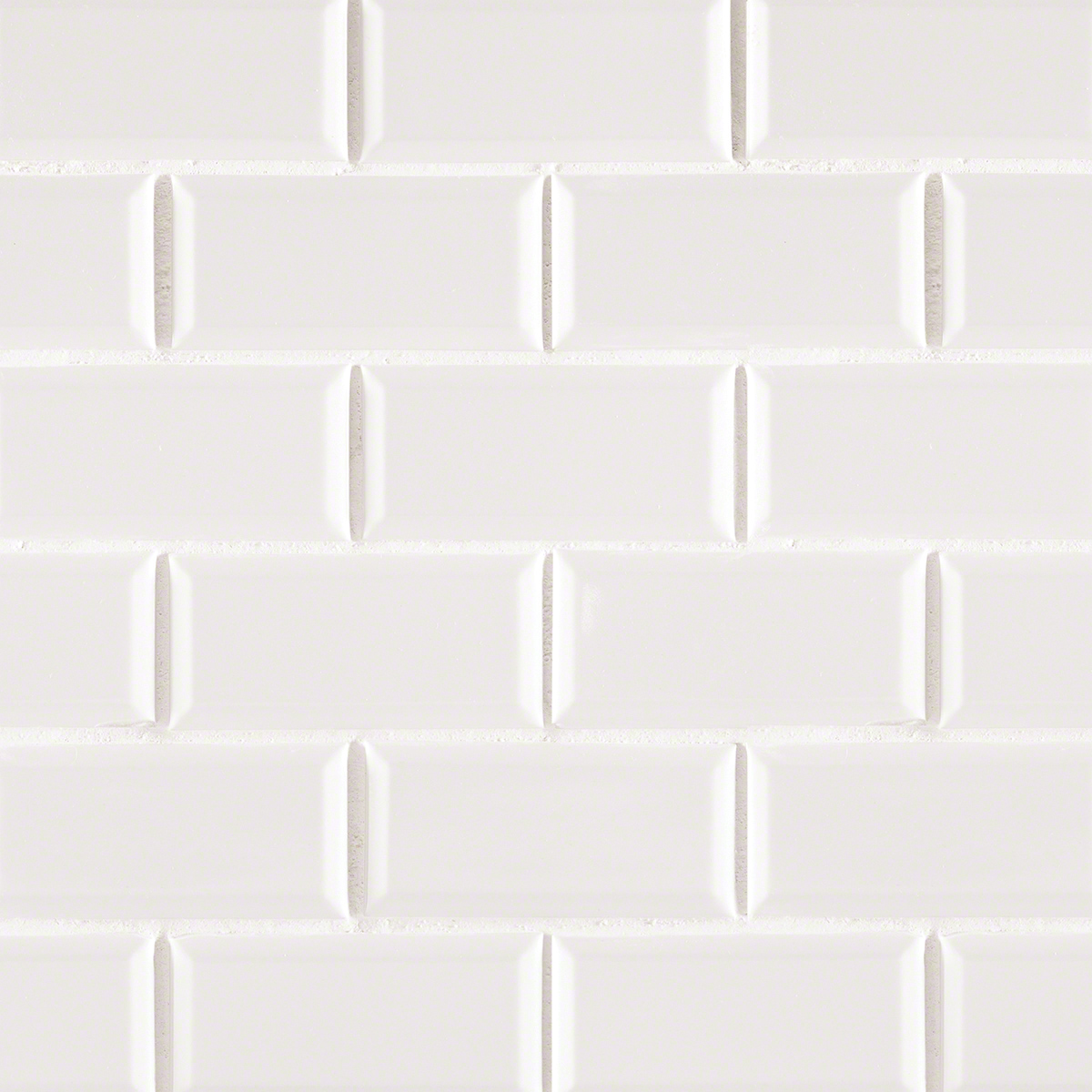 Domino White Glossy 2X4 Staggered Beveled Subway Tile