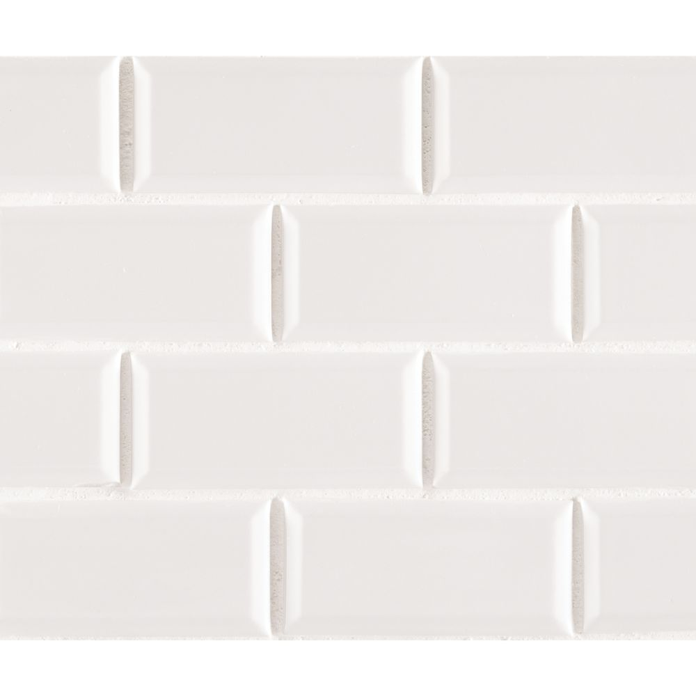 White Hudson 2X4 Staggered Beveled Subway Tile